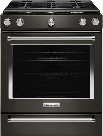 "KSGG700EBS KitchenAid 5.8 Cu. Ft. 30"" Gas 5 Burner Slide-in Convection Range with Aqualift and Glass Touch Controls - Black Stainless Steel"