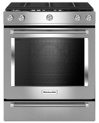 "KSGG700ESS KitchenAid 5.8 Cu. Ft. 30"" Gas 5 Burner Slide-in Convection Range - Stainless Steel"