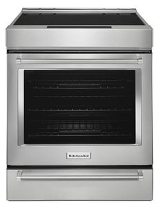 "KSIB900ESS KitchenAid 7.1 Cu. Ft. 30"" 5-Element Electric Induction Slide-In Range with Baking Drawer and Steam Rack - Stainless Steel"