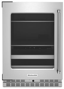 """KUBL314KSS KitchenAid 24"""" Undercounter Beverage Center with Glass Door and Metal-Front Racks - Left Hinge - Stainless Steel"""