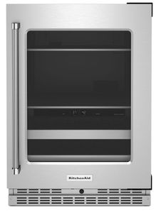 """KUBR314KSS KitchenAid 24"""" Undercounter Beverage Center with Glass Door and Metal-Front Racks - Right Hinge - Stainless Steel"""