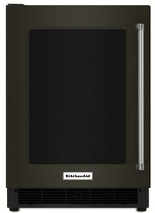 """KURL304EBS KitchenAid 24"""" 5.1 Cu. Ft. capacity Undercounter Refrigerator with Touch Controls and UV-Protected Thermal Glass Door - Left Hinged - Black Stainless Steel"""