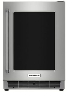 """KURR304ESS KitchenAid 24"""" Undercounter Refrigerator with Glass Door and Metal Trim Shelves - Right Hinge - Stainless Steel"""