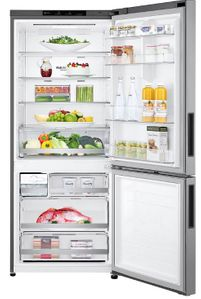 "LBNC15231V LG 28"" Bottom Mount Counter Depth Refrigerator with LED Lighting and Multi Air Flow Technology - Platinum Silver"
