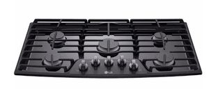 "LCG3611BD LG 36"" Gas Cooktop with SuperBoil and Heavy Duty Cast Iron Grates - Black Stainless Steel"