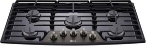 """LCG3611BD LG 36"""" Gas Cooktop with SuperBoil and Heavy Duty Cast Iron Grates - Black Stainless Steel"""