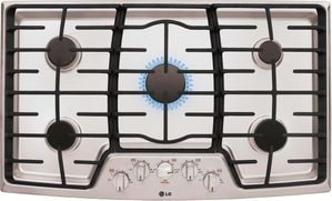 "LCG3611ST LG 36"" Gas Cooktop with SuperBoil and Heavy Duty Cast Iron Grates - Stainless Steel"