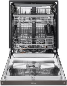 "LDF5678BD LG 24"" Front Control Wifi Enabled Dish Washer with QuadWash and 9 Wash Cycles - Black Stainless Steel"