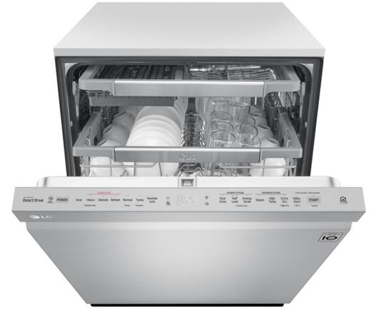 """LDP7708ST LG 24"""" Top Control Wifi Enabled Dish Washer with QuadWash and 10 Wash Cycles - Stainless Steel"""