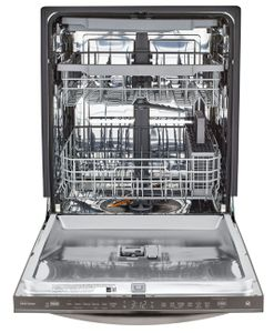 "LDT5678BD LG 24"" Top Control Smart WiFi Enabled Dishwasher with 3rd Rack and Quadwash - Black Stainless Steel"