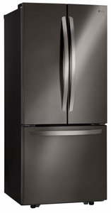 """LFCS22520D LG 30"""" Super Capacity 3-Door French Door 21.8 cu. ft. Refrigerator with Smart Cooling System and Glide N' Server Drawer - Black Stainless Steel"""