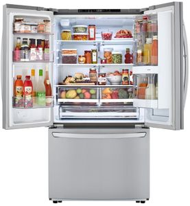 "LFCS27596S LG 36"" 27 cu. ft. 3-Door French Door Refrigerator with InstaView and LG SmartThinQ - PrintProof Stainless Steel"