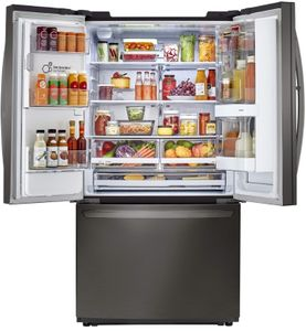 """LFXC22596D LG 36"""" French Door Counter Depth Smart WiFi Enabled InstaView Refrigerator with Slim SpacePlus and SmartThinkQ Technology - PrintProof Black Stainless Steel"""