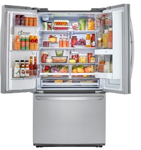 """LFXC22596S LG 36"""" French Door Counter Depth Smart WiFi Enabled InstaView Refrigerator with Slim SpacePlus and SmartThinkQ Technology - PrintProof Stainless Steel"""