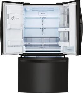 """LFXS26596M LG 36"""" 26 Cu. Ft. French Door Refrigerator with Smart Wi-Fi and InstaView - Matte Black Stainless Steel"""