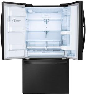"""LFXS28566M LG 36"""" French Door 27.7 Cu. Ft. 3-Door Refrigerator with Slim SpacePlus and SmartDiagnosis System - Matte Black Stainless Steel"""