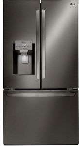 """LFXS28968D LG 36"""" French Door 28 cu. ft. Refrigerator with Slim SpacePlus Ice System and SmartThinQ - Print Proof Black Stainless Steel"""