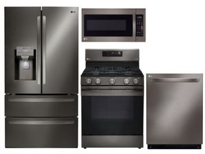 Package LGBD2 - LG Appliance Package - 4 Piece Appliance Package with Gas Range - Black Stainless Steel