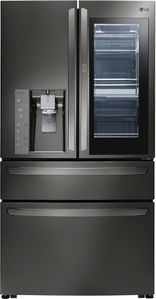 """LMXC23796D LG 36"""" 22.7 cu. ft. Capacity Counter Depth French Door Refrigerator with InstaView Window and ColdSaver Panel - Black Stainless Steel"""