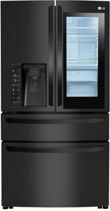 """LMXC23796M LG 36"""" 22.7 cu. ft. Capacity Counter Depth French Door Refrigerator with InstaView Window and ColdSaver Panel - Matte Black Stainless Steel"""
