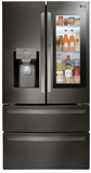 """LMXS28596D LG 36"""" Energy Star Rated French Door Refrigerator with Slim SpacePlus Ice System and InstaView Door-In-Door - Black Stainless Steel"""