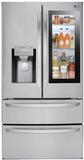 """LMXS28596S LG 36"""" Energy Star Rated French Door Refrigerator with Slim SpacePlus Ice System and InstaView Door-In-Door - Stainless Steel"""
