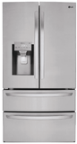 """LMXS28636S LG 36"""" 28 cu. ft. 4-Door French Door Smart Refrigerator with We-Fi Enabled In and Smart Cooling System - Stainless Steel"""