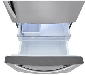 """LRDCS2603S LG 33"""" Bottom Freezer Refrigerator with LED Lighting and Multi Air Flow System - PrintProof Stainless Steel"""