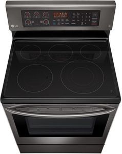 """LRE3194BD LG 30"""" 6.3 cu. ft. Free Standing Electric Range with True Convection and EasyClean - Black Stainless Steel"""