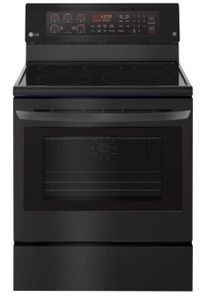 """LRE3194BM LG 30"""" 6.3 cu. ft. Free Standing Electric Range with True Convection and EasyClean - Matte Black Stainless Steel"""