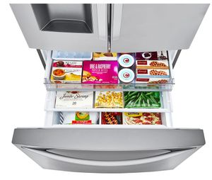 "LRFXC2416S LG 36"" WiFi Enabled 23.5 cu ft Capacity Counter Depth French Door Refrigerator with Dual Ice Maker and SmartDiagnosis - PrintProof Stainless Steel"