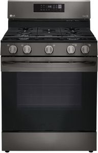 """LRGL5823D LG 30"""" 5.8 cu.ft. Wifi Enabled Gas Range with Convection and AirFry - Black Stainless Steel"""