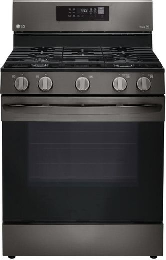 "LRGL5823D LG 30"" 5.8 cu.ft. Wifi Enabled Gas Range with Convection and AirFry - Black Stainless Steel"