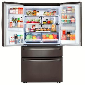 "LRMDS3006D LG 36"" 30 cu.ft. 4 Door French Door Refrigerator with Craft Ice Maker and Smart Wifi - PrintProof Black Stainless Steel"