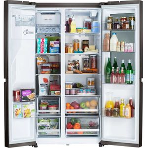 """LRSOS2706D LG 36"""" 27 cu.ft. Side by Side Refrigerator with Instaview and Craft Ice - PrintProof Stainless Black Steel"""