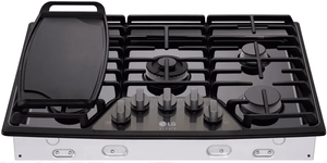 """LSCG307BD LG Studio 30"""" Gas Cooktop with Red LED Backlit Knobs and UltraHeat 19,000 BTU Dual-Stacked Center Burner - Black Stainless Steel"""