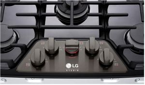 "LSCG307BD LG Studio 30"" Gas Cooktop with Red LED Backlit Knobs and UltraHeat 19,000 BTU Dual-Stacked Center Burner - Black Stainless Steel"