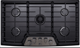LSCG367BD LG Studio Gas Cooktop with Red LED Backlit Knobs and UltraHeat 19,000 BTU Dual-Stacked Center Burner - Black Stainless Steel