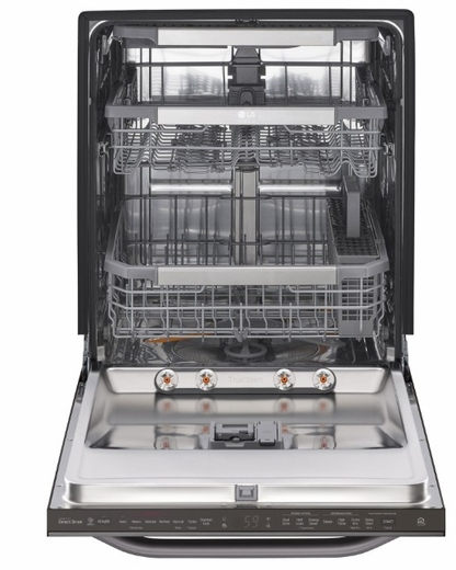 "LSDT9908BD LG 24"" Studio Series Top Control Smart Wi Fi Enabled Dishwasher with SmoothTouch Controls and Quadwash - Black Stainless Steel"