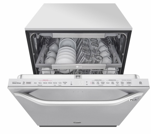 """LSDT9908ST LG 24"""" Studio Series Top Control Smart Wi Fi Enabled Dishwasher with SmoothTouch Controls and Quadwash - Stainless Steel"""