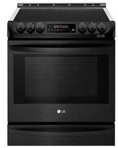 "LSE4615BM LG 30"" Smart WiFi Enabled Electric Slide In Range with ProBake Convection and EasyClean - PrintProof Matte Black Stainless Steel"