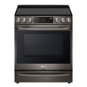 """LSEL6337D LG 30"""" Electric Slide-in Range 6.3 cu.ft with Air Fry ProBake Convection Wi-Fi and Air SousVide - Printproof Black Stainless Steel"""