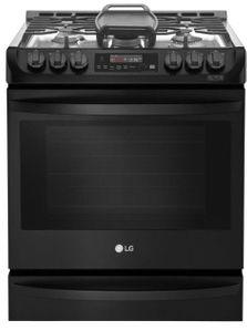 """LSG4515BM LG 30"""" Smart WiFi Enabled Gas Slide In Range with ProBake Convection and EasyClean - Print Proof Matte Black Stainless Steel"""