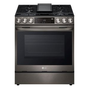 """LSGL6335D LG 30"""" Gas Slide-in Range 6.3 cu.ft with Air Fry ProBake Convection and Wi-Fi - Printproof Black Stainless Steel"""