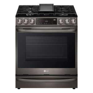 """LSGL6337D LG 30"""" Gas Slide-in Range 6.3 cu.ft with Air Fry ProBake Convection Wi-Fi Air and SousVide - Printproof Black Stainless Steel"""