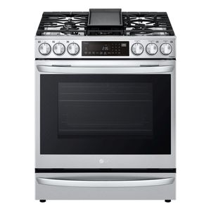"""LSGL6337F LG 30"""" Gas Slide-in Range 6.3 cu.ft with Air Fry ProBake Convection Wi-Fi Air and SousVide - Printproof Stainless Steel"""