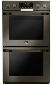 """LSWD300BD LG Studio 30"""" Smart WiFi Enabled Built-in Double Electric Wall Oven with Self Clean and Easy Clean - PrintProof Black Stainless Steel"""