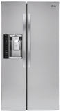 """LSXC22436S LG 36"""" 21.9 cu. ft. Built-In Side-by-Side Refrigerator with LED Panels and Digital Temperature Controls - Stainless Steel"""