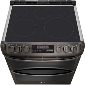 """LTE4815BD LG 30""""  Wi-Fi Enabled Slide-In Electric Double Oven Range with Easy Clean and ProBake Convection - PrintProof Black Stainless Steel"""