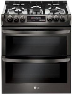 """LTG4715BD LG 30"""" 6.9 Cu. Ft. Wi-Fi Enabled Gas Double Oven Slide-In Range with ProBake Convection and EasyClean Technology - Black Stainless Steel"""